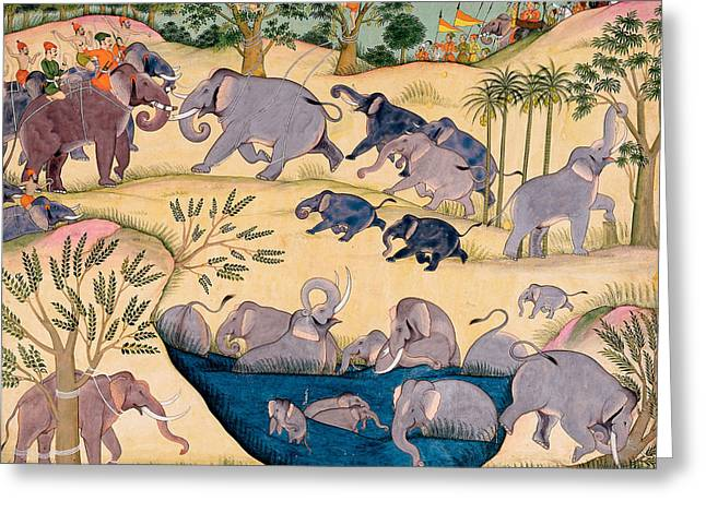 Asia Drawings Greeting Cards - The Elephant Hunt Greeting Card by Indian School