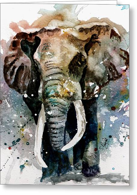 Tusk Greeting Cards - The Elephant Greeting Card by Steven Ponsford