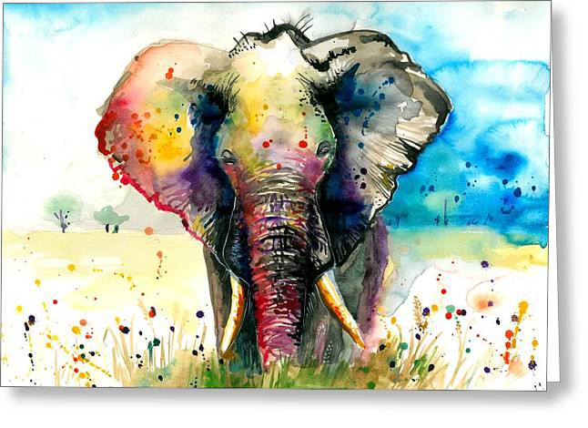 Huge Art Greeting Cards - The Elephant - XXL Format Greeting Card by Tiberiu Soos