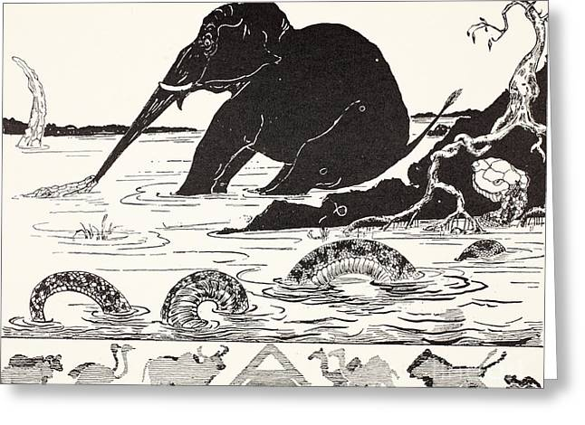Pen And Ink Drawing Greeting Cards - The Elephants Child having his nose pulled by the Crocodile Greeting Card by Joseph Rudyard Kipling