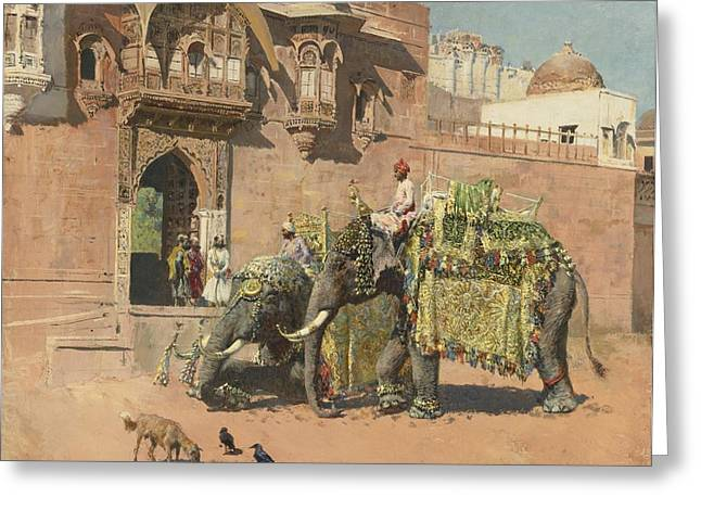 Jihad Greeting Cards - The Elephants Of Rajah Jodhpore Greeting Card by Celestial Images