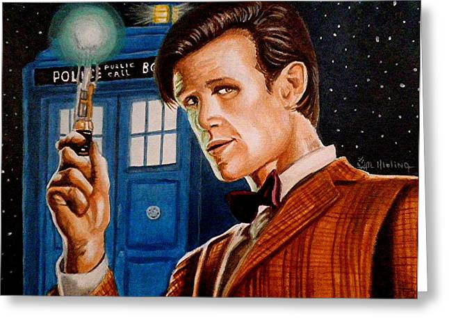 Eleventh Doctor Greeting Cards - The Eleventh Doctor Greeting Card by Al  Molina