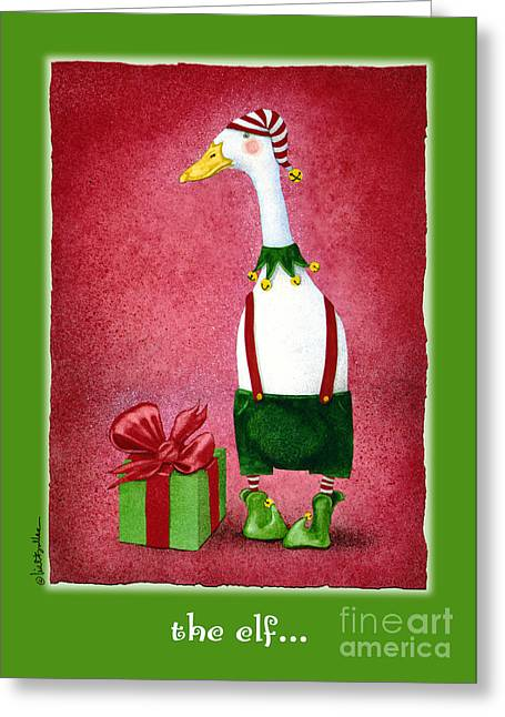 Humorous Greeting Cards Paintings Greeting Cards - The Elf... Greeting Card by Will Bullas