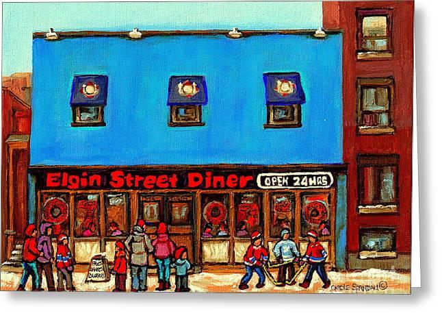 Hockey Paintings Greeting Cards - The Elgin Street Diner Winter City Scenes Paintings Of Ottawa Great Ontario Restaurant Art  Greeting Card by Carole Spandau