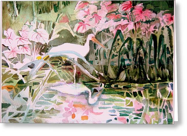 Water Garden Drawings Greeting Cards - The Elusive Egret Greeting Card by Mindy Newman