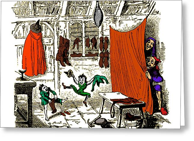 Cruikshank Greeting Cards - The Elves And The Shoemaker Greeting Card by Photo Researchers