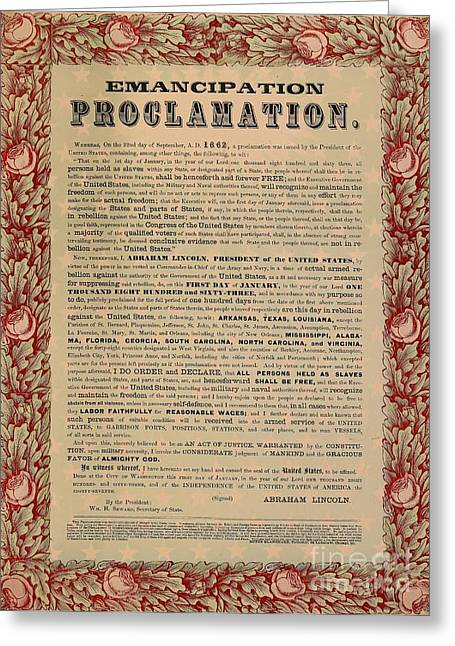 Proclamation Mixed Media Greeting Cards - The Emancipation Proclamation Greeting Card by American School