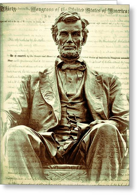 Proclamation Greeting Cards - The  Emancipation Proclamation and Abraham Lincoln Greeting Card by Kathy Clark