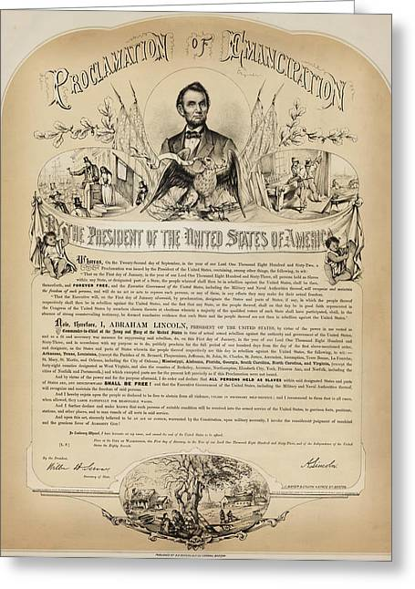 Proclamation Greeting Cards - The Emancipation Proclamation Greeting Card by B  B  Russell