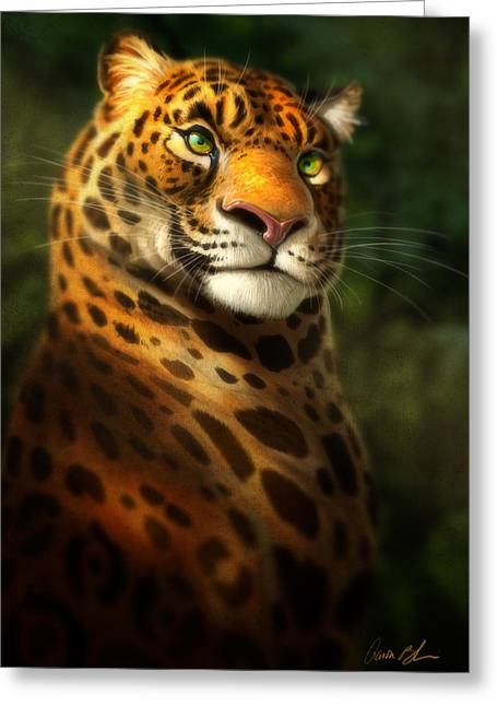 Jaguars Digital Greeting Cards - The Emerald Kingdom Greeting Card by Aaron Blaise