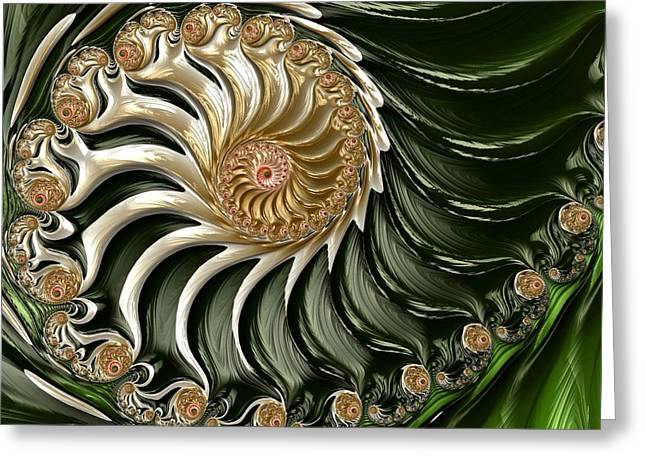 Sea Shell Digital Art Greeting Cards - The Emerald Queens Nautilus Greeting Card by Susan Maxwell Schmidt