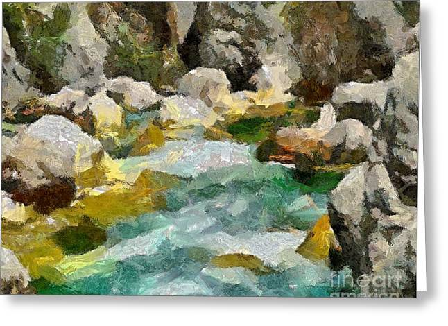 River Rafting Art Print Greeting Cards - The Emerald River- Soca Greeting Card by Dragica  Micki Fortuna