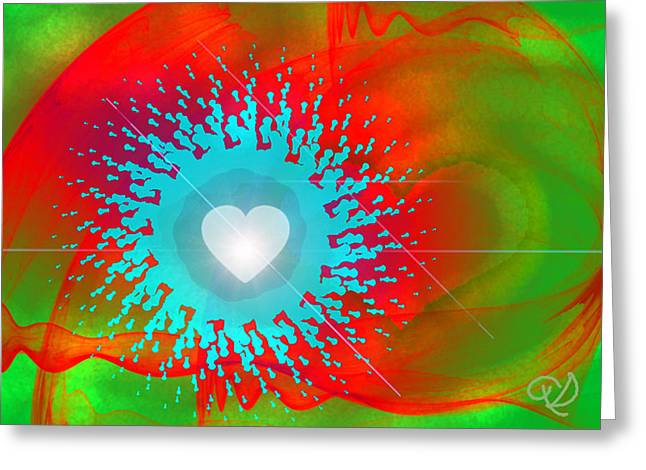 Green Abstract Greeting Cards - The Emergence of Love Greeting Card by Ute Posegga-Rudel