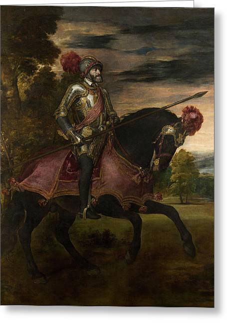The Emperor Charles V 1500-58 On Horseback In Muhlberg, 1548 Oil On Canvas Greeting Card by Titian
