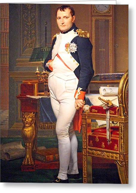 David; Jacques Louis (1748-1825) Greeting Cards - The Emperor Napoleon In His Study At The Tuileries Greeting Card by Cora Wandel
