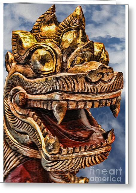 Yang Greeting Cards - The Emperors Dragon Greeting Card by Lee Dos Santos