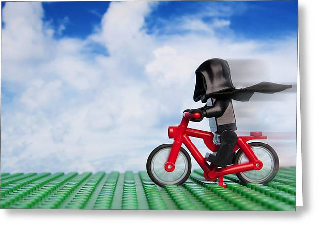 Lego Greeting Cards - The Emperors New Bike Greeting Card by Samuel Whitton