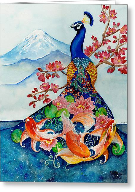 Transformations Paintings Greeting Cards - The Emperors Song Greeting Card by Susy Soulies
