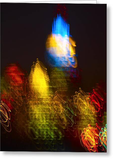 Decor Photography Pyrography Greeting Cards - The Empire State And Chrysler Building In A Dreamy Lights Greeting Card by Habib Ayat