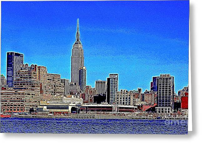 Highrise Digital Art Greeting Cards - The Empire State Building and The New York Skyline 20130430 Greeting Card by Wingsdomain Art and Photography