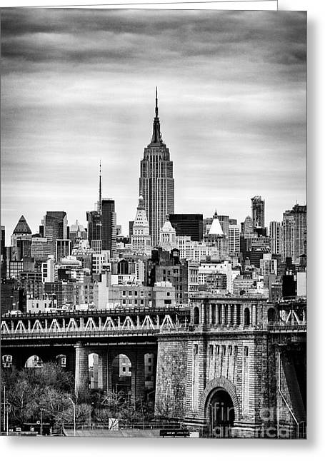 New York Winter Greeting Cards - The Empire State Building Greeting Card by John Farnan