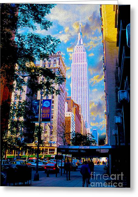 New York City Mixed Media Greeting Cards - The Empire State Building Greeting Card by Jon Neidert