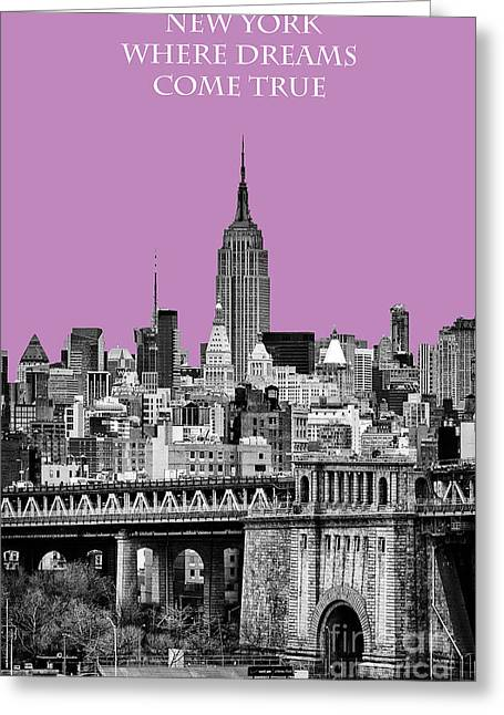 New York Vista Greeting Cards - The Empire State Building pantone african violet Greeting Card by John Farnan