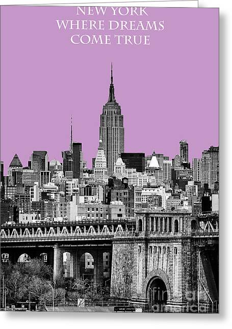 Hazy Days Greeting Cards - The Empire State Building Pantone african violet light Greeting Card by John Farnan