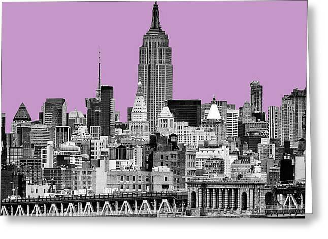 The Empire State Building Pantone african violet light Greeting Card by John Farnan
