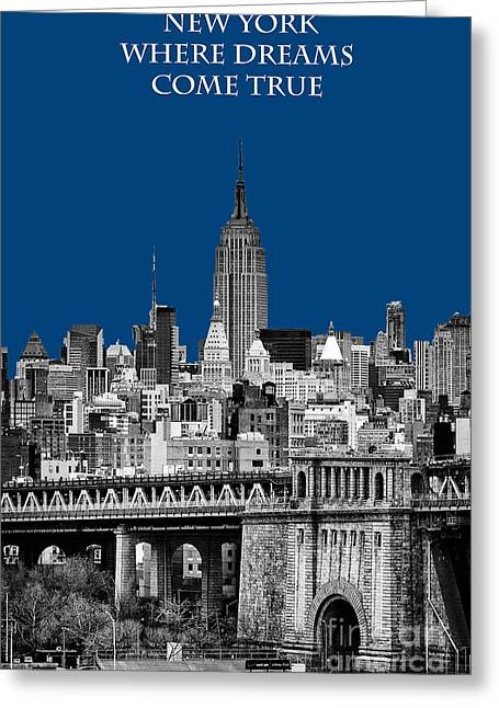 Hazy Days Greeting Cards - The Empire State Building pantone blue Greeting Card by John Farnan