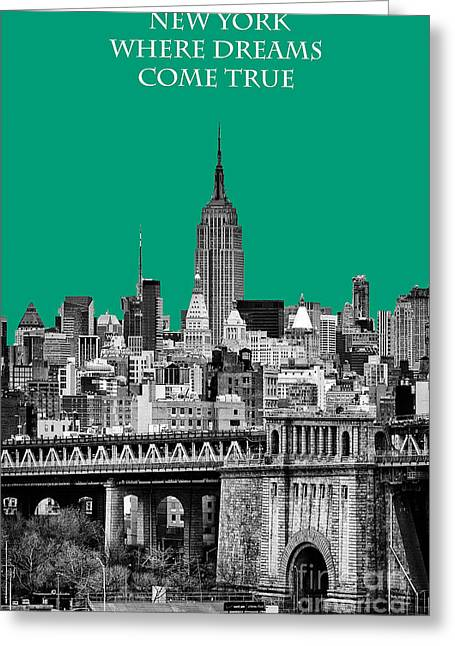 Hazy Days Greeting Cards - The Empire State Building Pantone Emerald Greeting Card by John Farnan