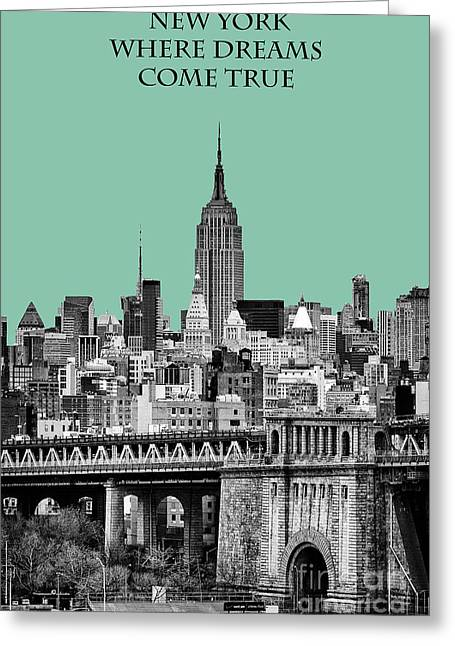Hazy Days Greeting Cards - The Empire State Building Pantone Jade Greeting Card by John Farnan