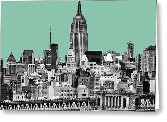 The Empire State Building Pantone Jade Greeting Card by John Farnan