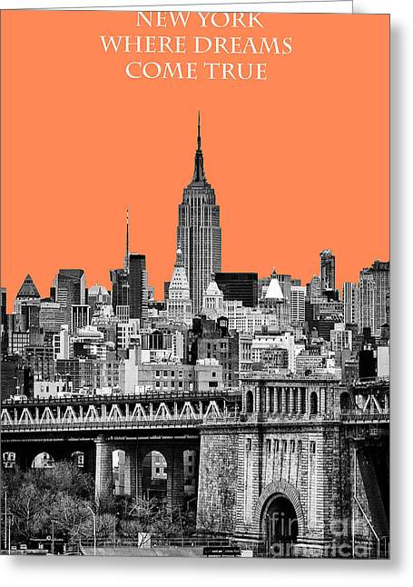 New York Vista Greeting Cards - The Empire State Building pantone nectarine Greeting Card by John Farnan