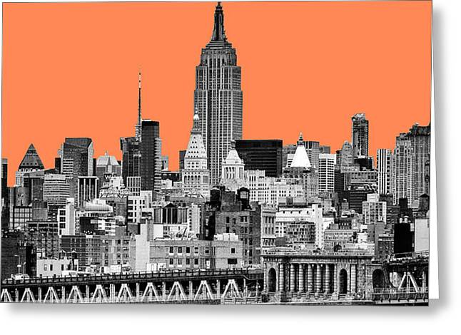 The Empire State Building pantone nectarine Greeting Card by John Farnan