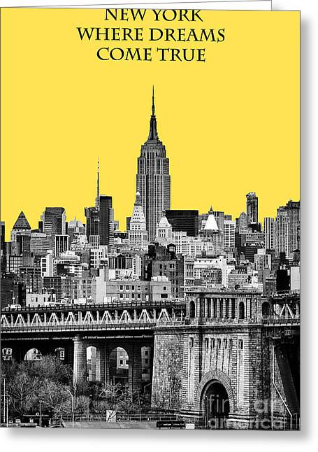 New York Vista Greeting Cards - The Empire State Building pantone yellow Greeting Card by John Farnan
