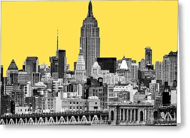The Empire State Building pantone yellow Greeting Card by John Farnan