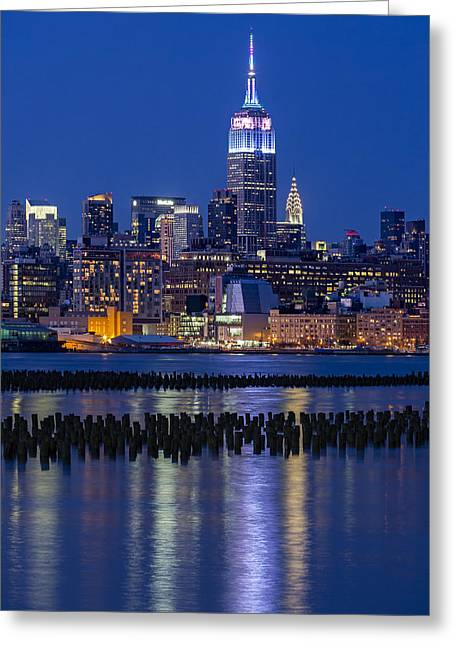 Night-scape Greeting Cards - The Empire State Building Pastels ESB Greeting Card by Susan Candelario
