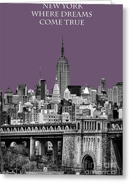 New York Vista Greeting Cards - The Empire State Building Plum Greeting Card by John Farnan