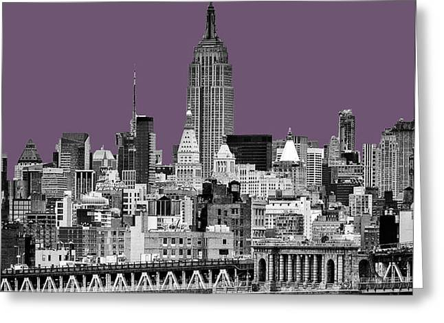 The Empire State Building Plum Greeting Card by John Farnan