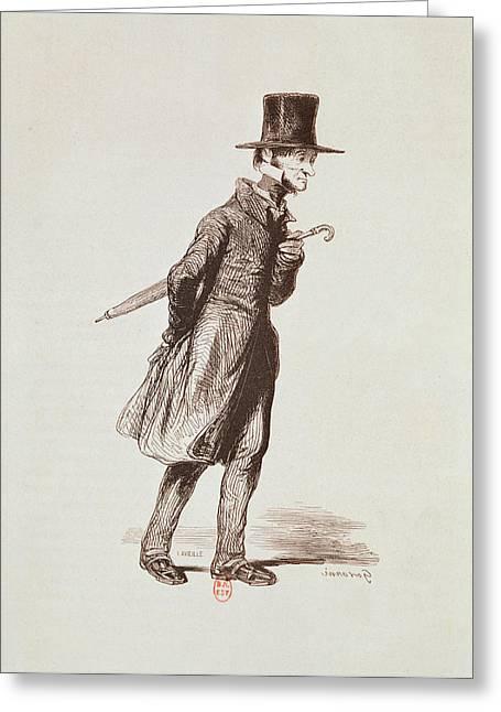 Bourgeoisie Greeting Cards - The Employee, From Les Francais Peints Par Eux-memes, Engraved By Guillaumot, Paris, C.1850 Greeting Card by Paul Gavarni