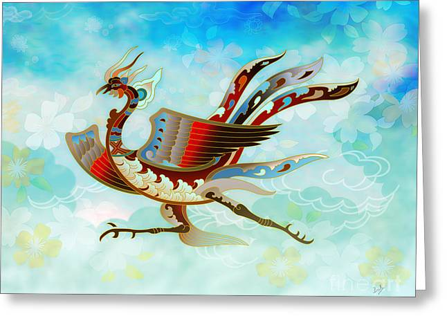 Mystic Sky Art Greeting Cards - The Empress - Flight Of Phoenix - Blue Version Greeting Card by Bedros Awak