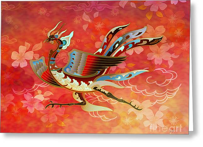 Mystic Sky Art Greeting Cards - The Empress - Flight Of Phoenix - Red Version Greeting Card by Bedros Awak