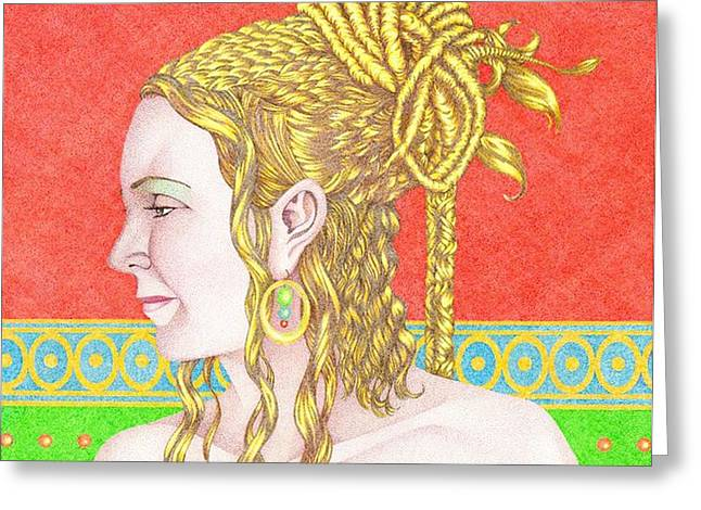 Stipple Greeting Cards - The Empress Greeting Card by Jack Puglisi