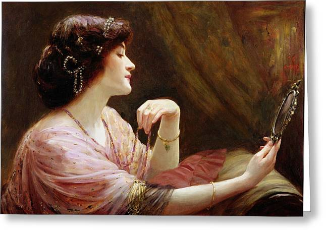 Mirror Greeting Cards - The Enamelled Chain, 1911 Greeting Card by Frank Markham Skipworth