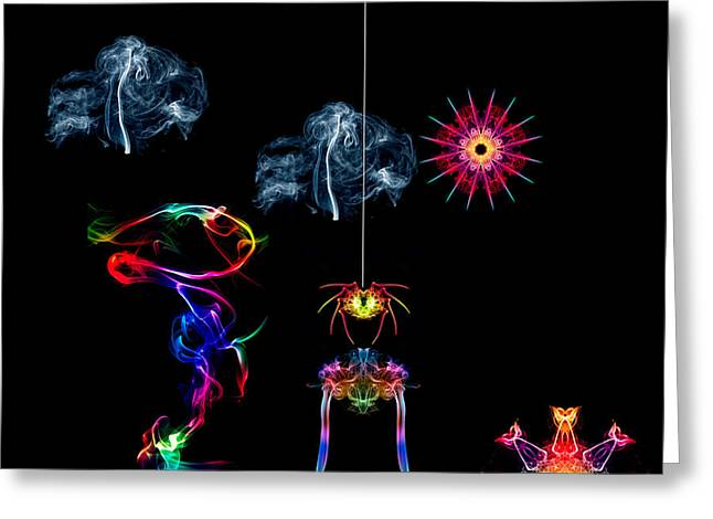 Smoking Trail Greeting Cards - The Enchanted Smoke Spider Greeting Card by Steve Purnell