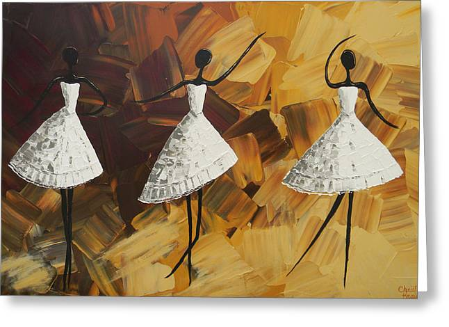 Contemporary Art By Christine Greeting Cards - The Encore - Three Dancers in White Greeting Card by Christine Krainock