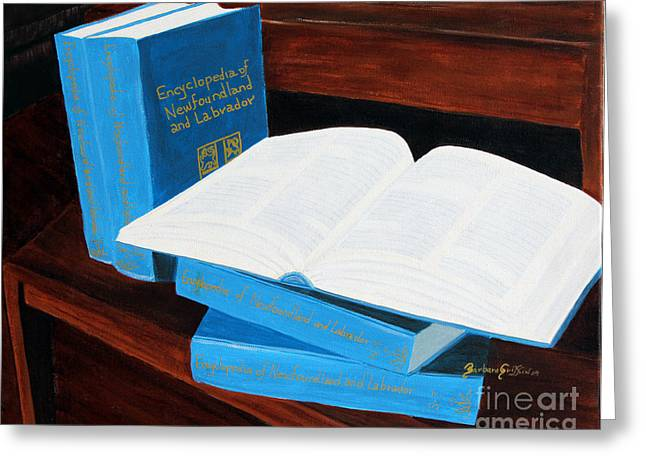 Book On A Table Greeting Cards - The Encyclopedia of Newfoundland and Labrador - Joeys Books Greeting Card by Barbara Griffin