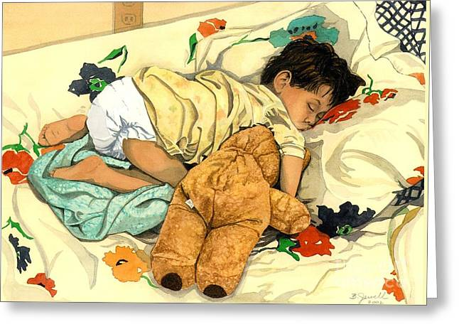 Child With Teddy Bear Greeting Cards - The End - Andy and Bear-Bear Greeting Card by Barbara Jewell