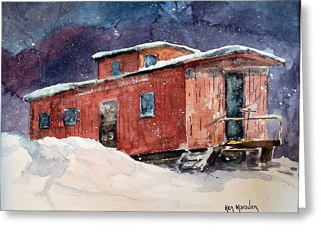 Caboose Paintings Greeting Cards - The End Greeting Card by Ken Marsden